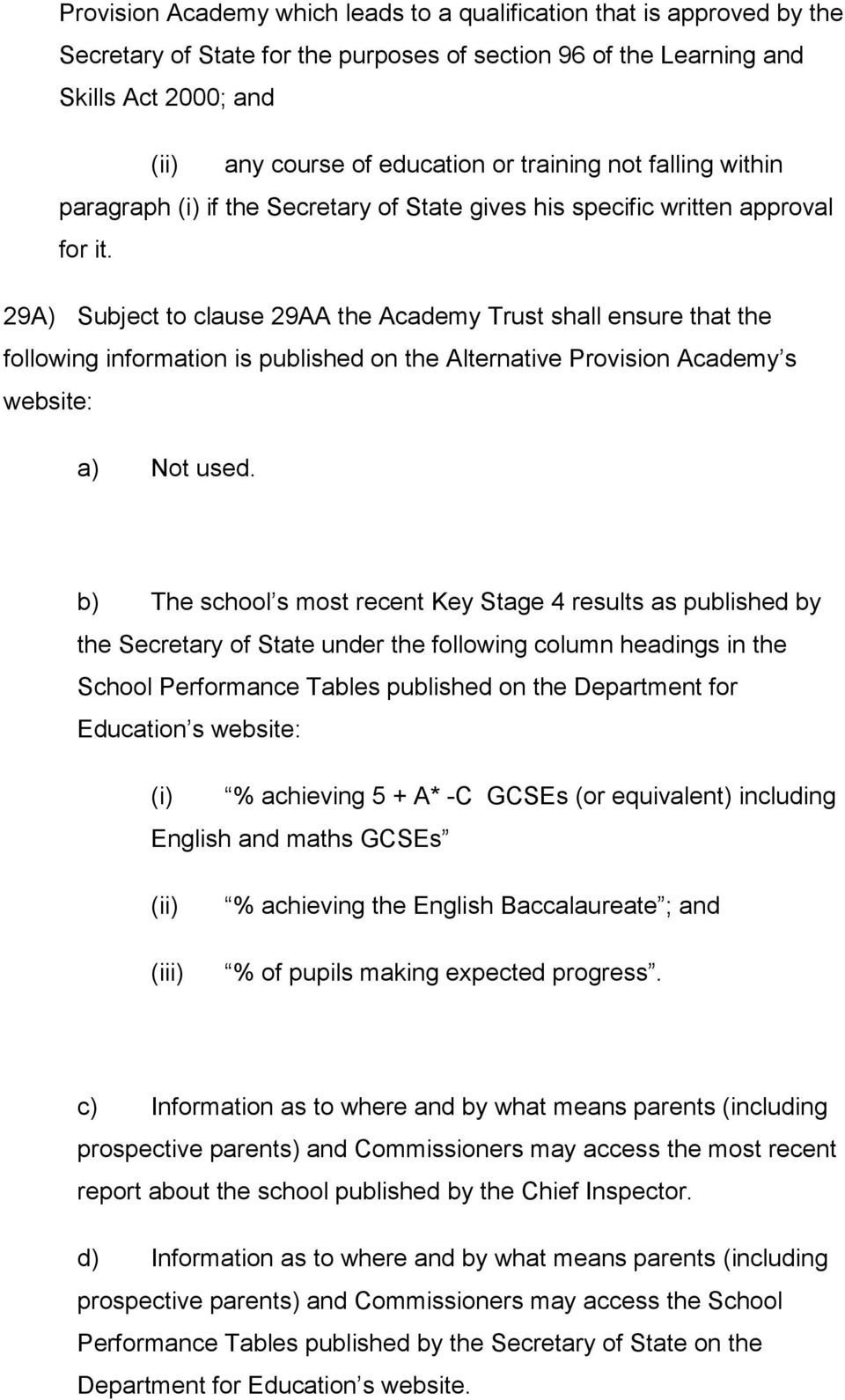 29A) Subject to clause 29AA the Academy Trust shall ensure that the following information is published on the Alternative Provision Academy s website: a) Not used.