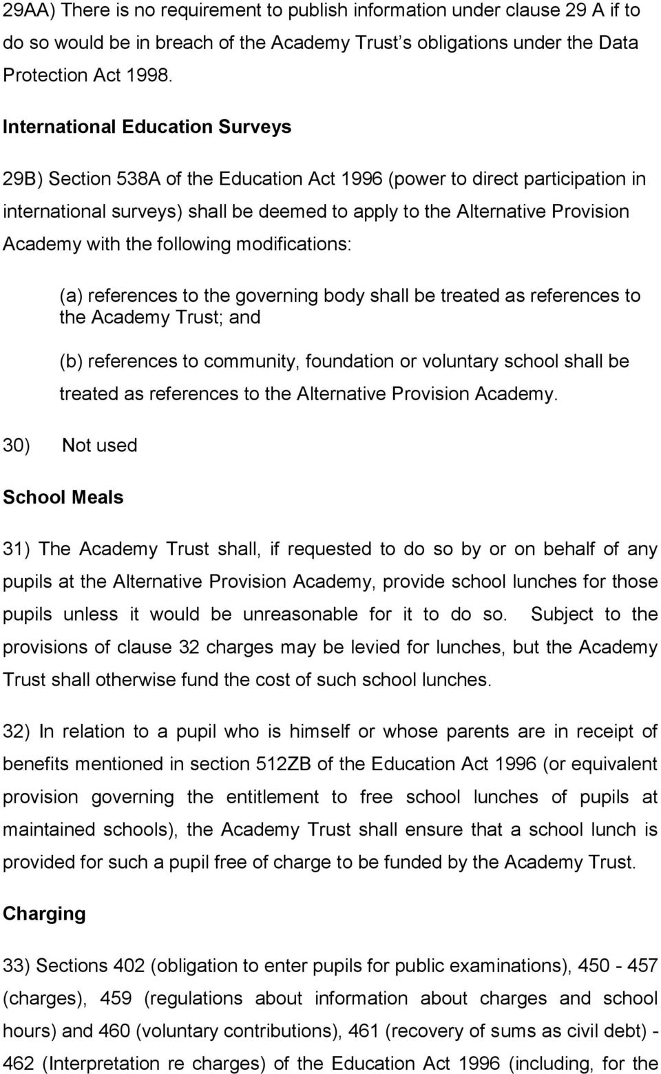 the following modifications: (a) references to the governing body shall be treated as references to the Academy Trust; and (b) references to community, foundation or voluntary school shall be treated
