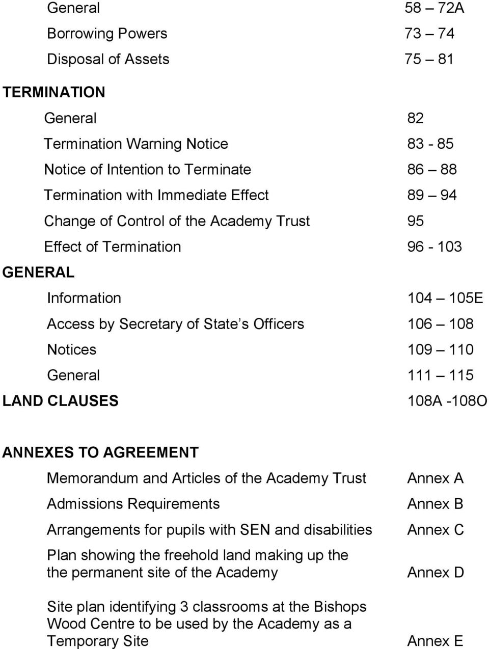 CLAUSES 108A -108O ANNEXES TO AGREEMENT Memorandum and Articles of the Academy Trust Admissions Requirements Arrangements for pupils with SEN and disabilities Plan showing the freehold land