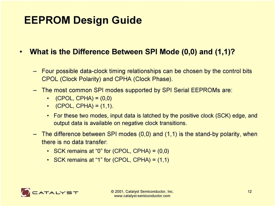 The most common SPI modes supported by SPI Serial EEPROMs are: (CPOL, CPHA) = (0,0) (CPOL, CPHA) = (1,1).