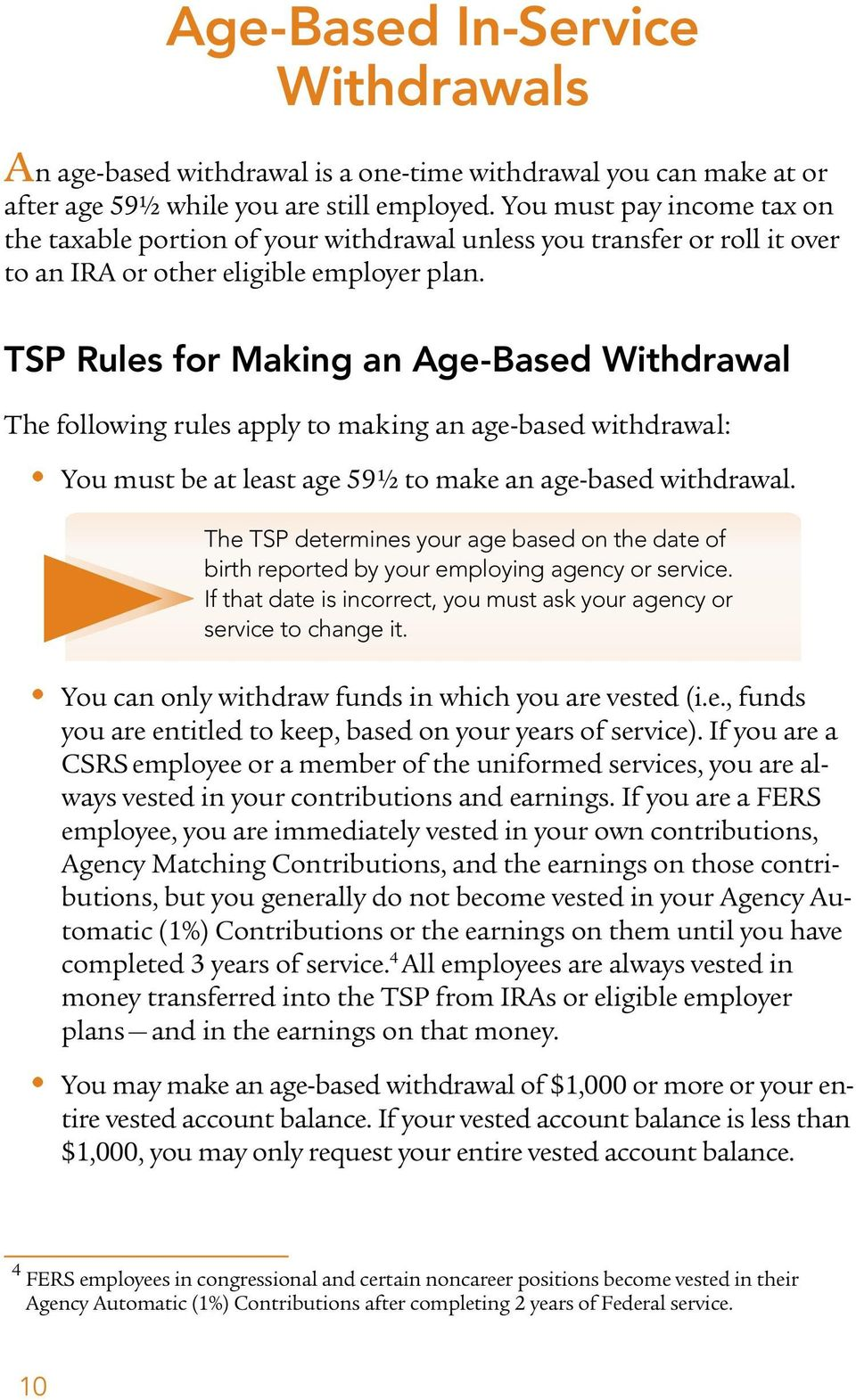 TSP Rules for Making an Age-Based Withdrawal The following rules apply to making an age-based withdrawal: You must be at least age 59 ½ to make an age-based withdrawal.