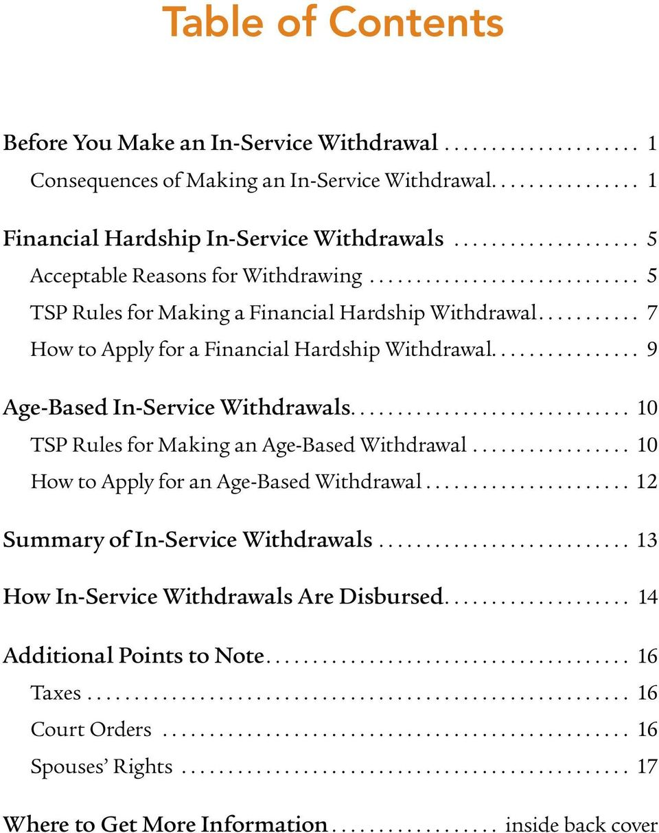 .. 9 Age-Based In-Service Withdrawals... 10 TSP Rules for Making an Age-Based Withdrawal... 10 How to Apply for an Age-Based Withdrawal.