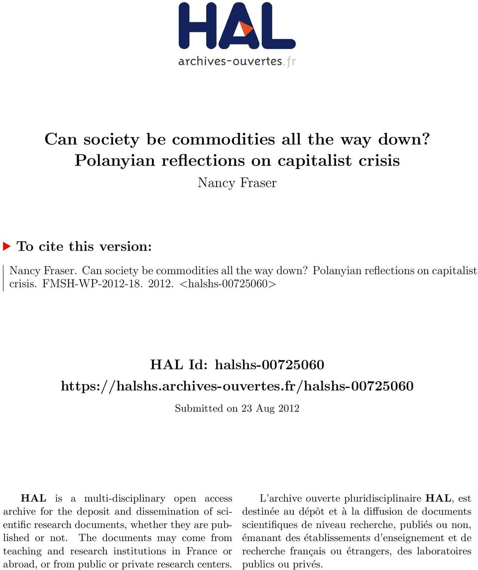 fr/halshs-00725060 Submitted on 23 Aug 2012 HAL is a multi-disciplinary open access archive for the deposit and dissemination of scientific research documents, whether they are published or not.