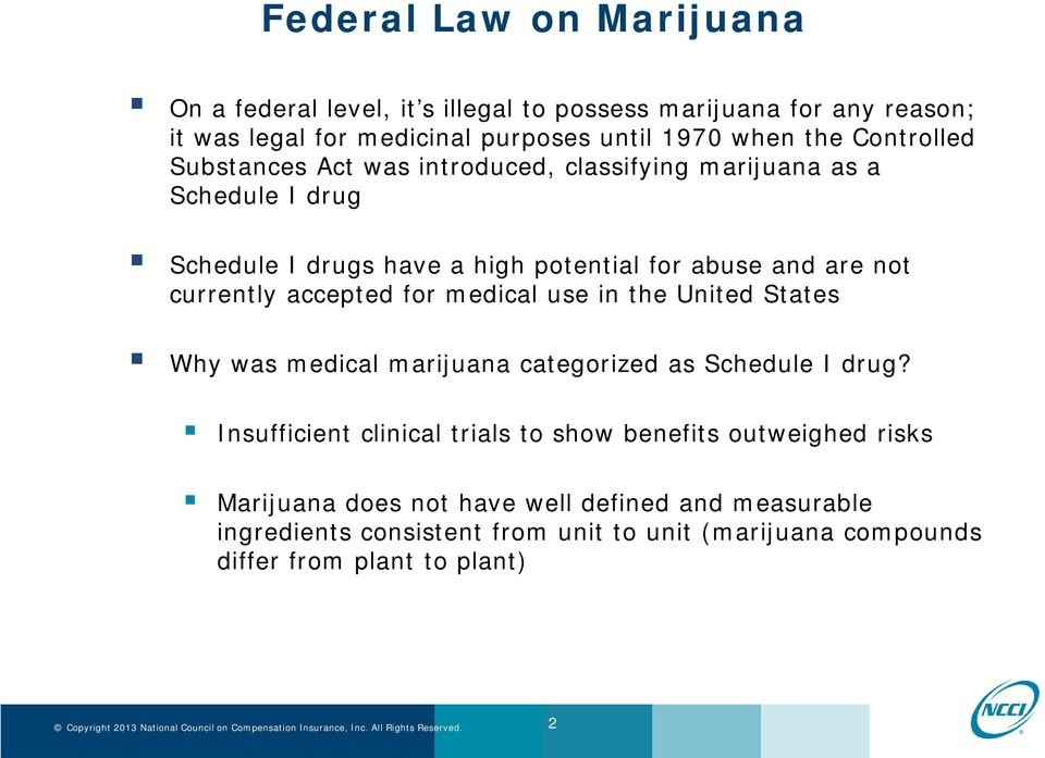currently accepted for medical use in the United States Why was medical marijuana categorized as Schedule I drug?