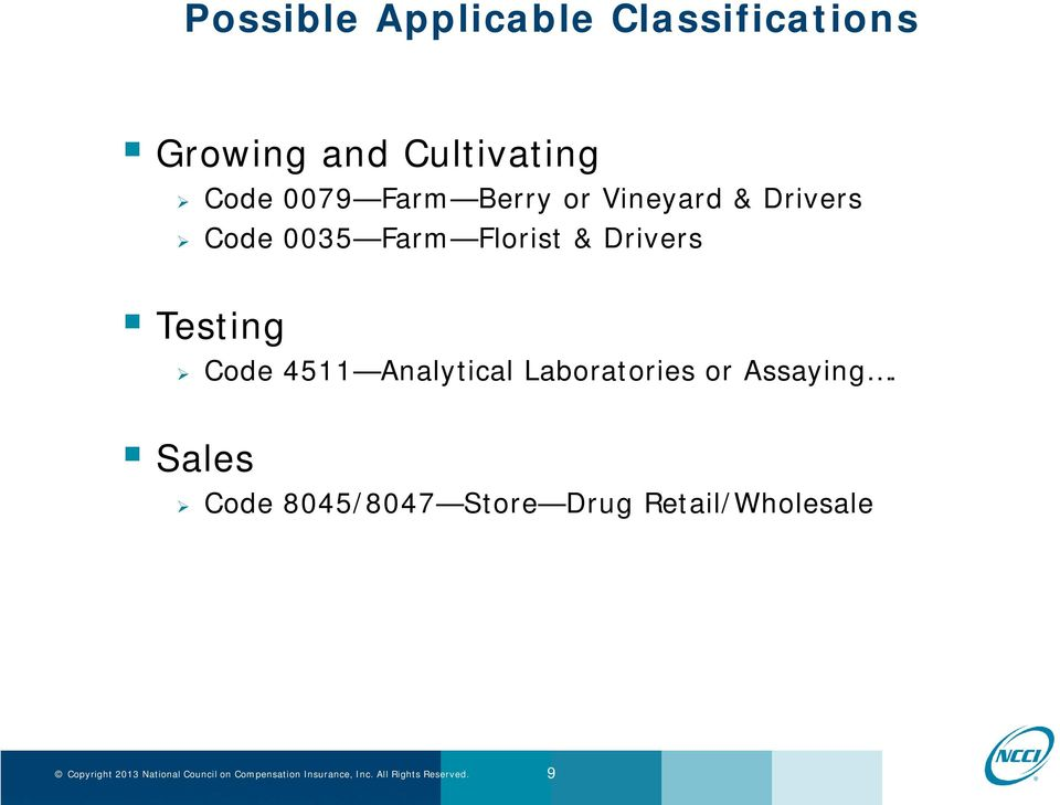 Florist & Drivers Testing Code 4511 Analytical Laboratories