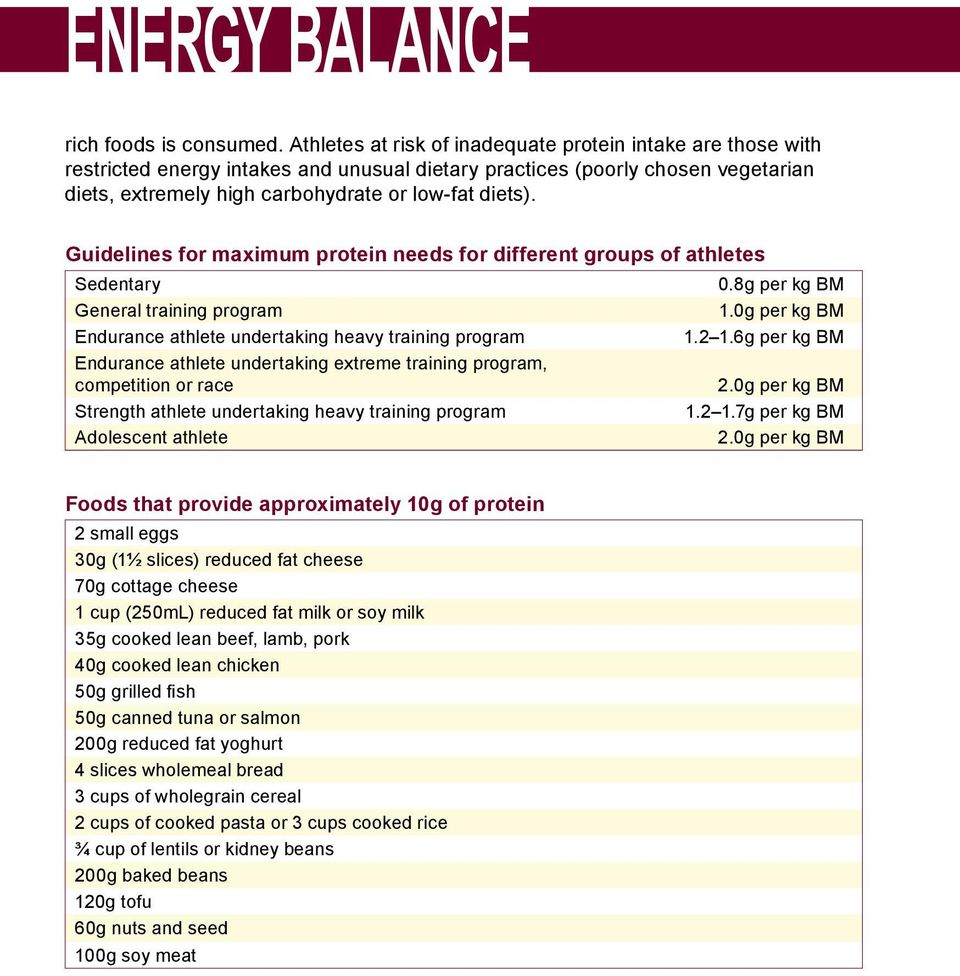 Guidelines for maximum protein needs for different groups of athletes Sedentary General training program Endurance athlete undertaking heavy training program Endurance athlete undertaking extreme