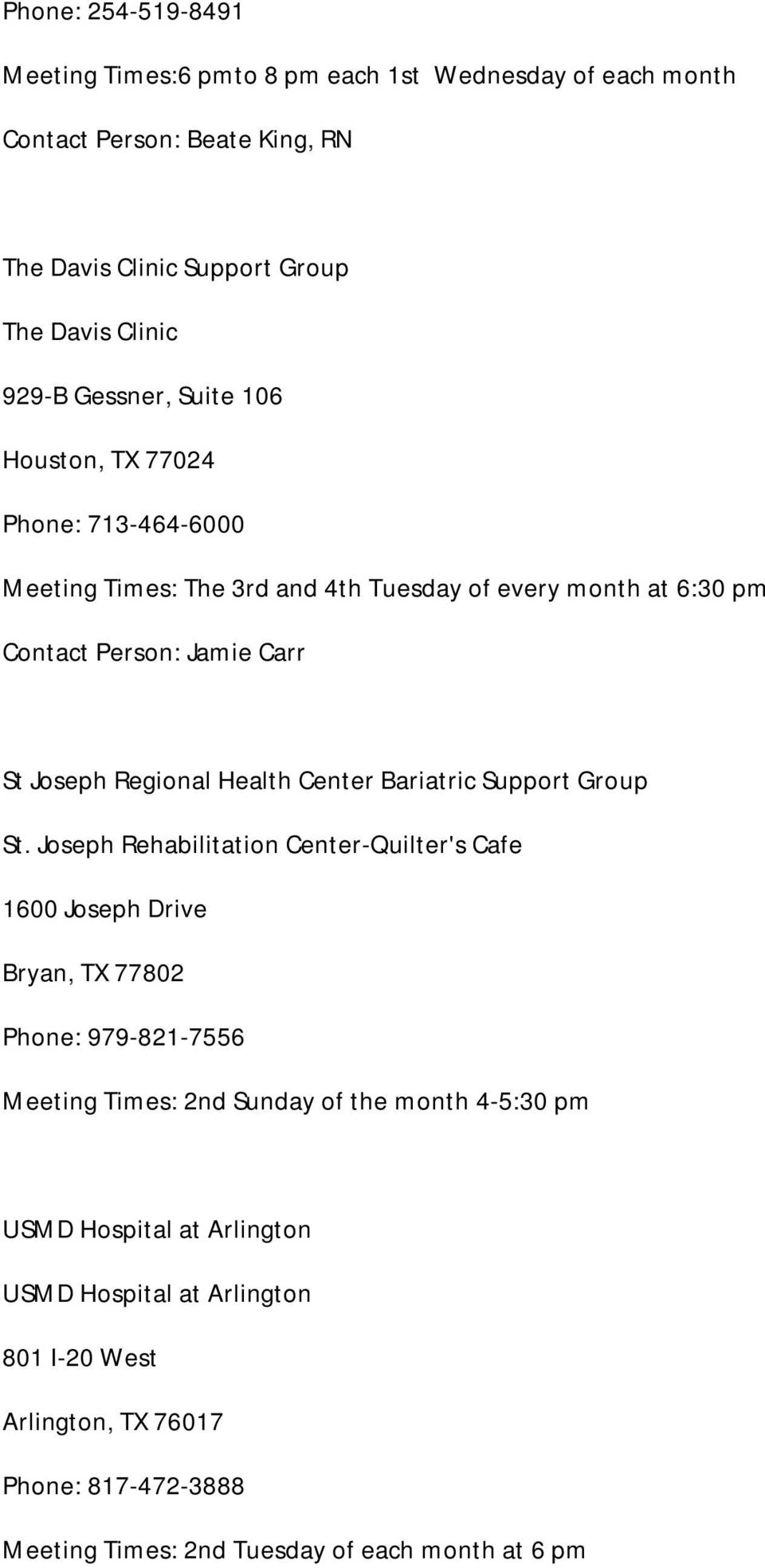 Health Center Bariatric Support Group St.