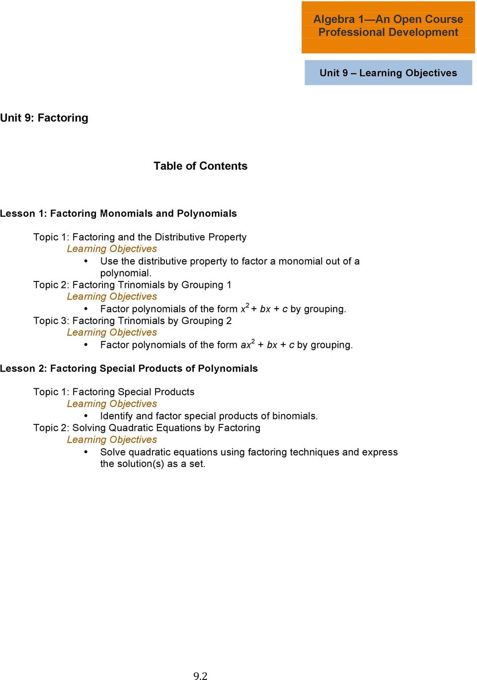 Topic 3: Factoring Trinomials by Grouping 2 Learning Objectives Factor polynomials of the form ax 2 + bx + c by grouping.