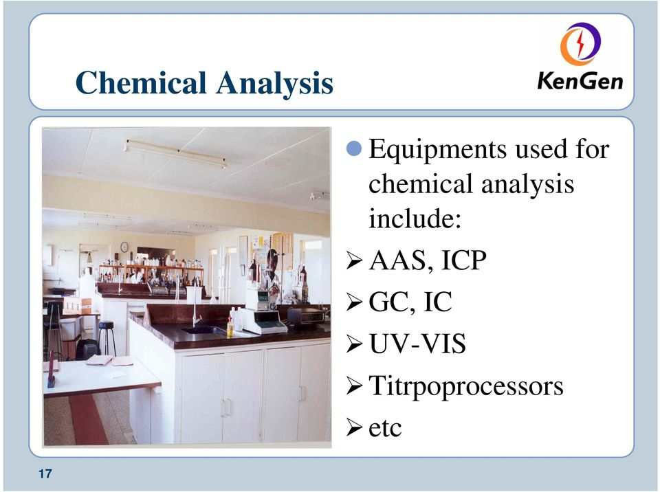 chemical analysis include: