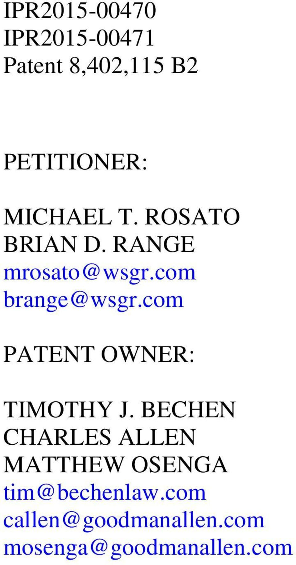 com PATENT OWNER: TIMOTHY J.