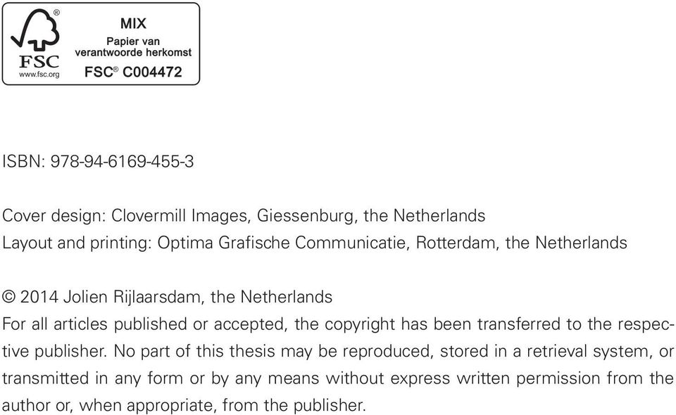 copyright has been transferred to the respective publisher.