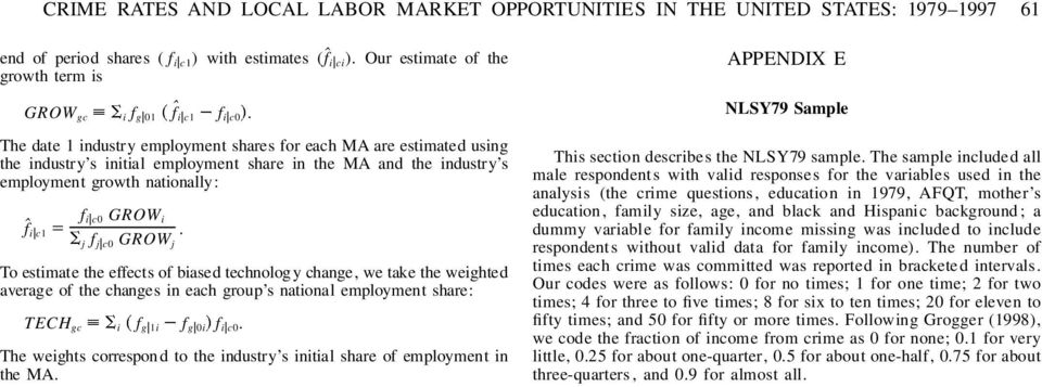 The date 1 industry employment shares for each MA are estimated using the industry s initial employment share in the MA and the industry s employment growth nationally: fˆi c1 f i c0 GROW i j f j c0