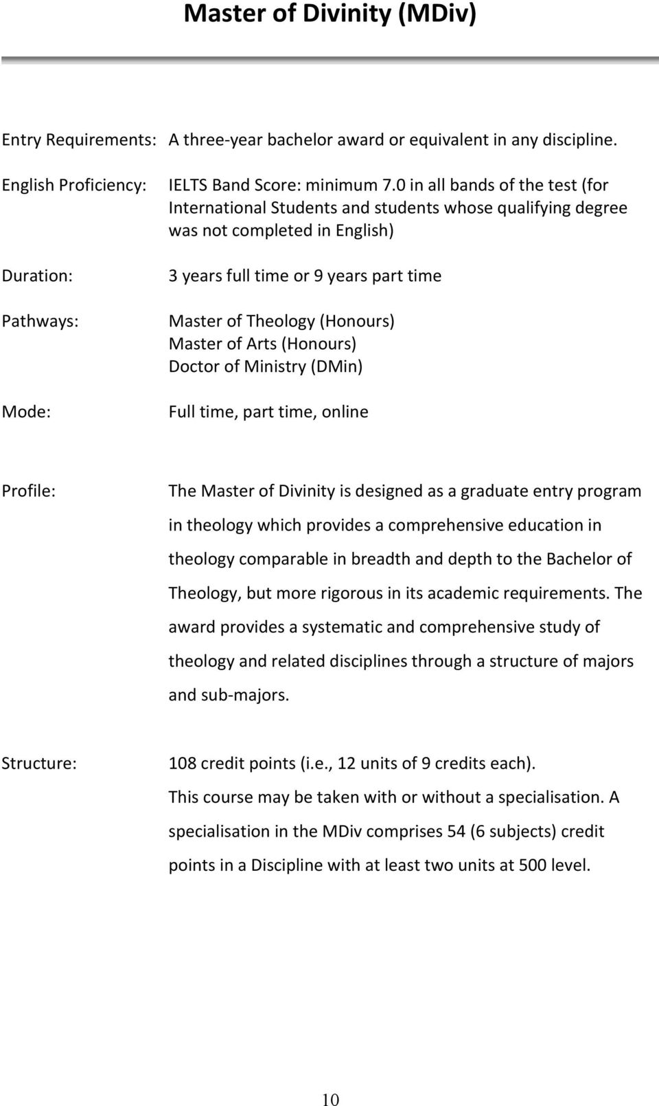 Arts (Honours) Doctor of Ministry (DMin) Full time, part time, online Profile: The Master of Divinity is designed as a graduate entry program in theology which provides a comprehensive education in