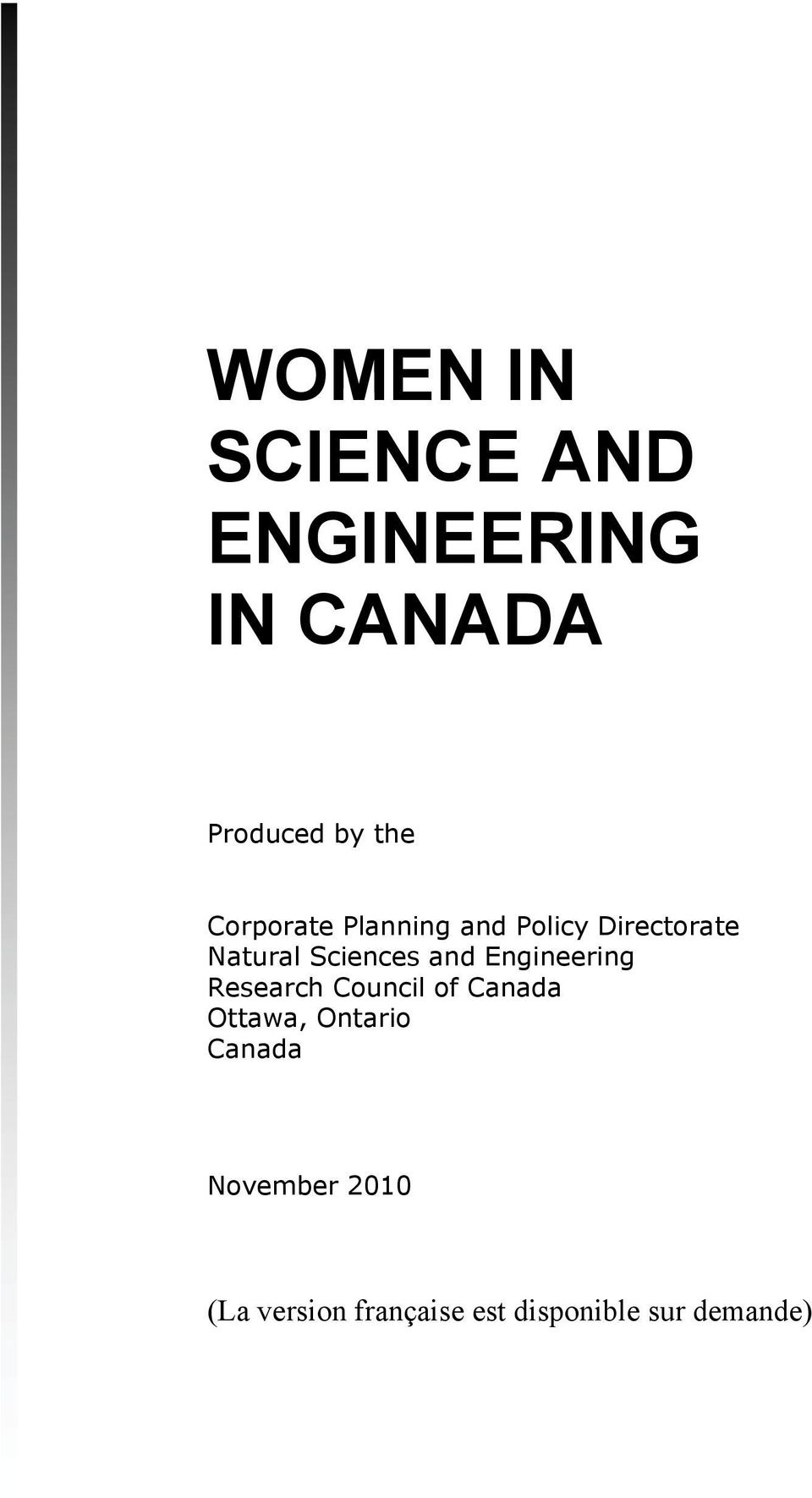 and Engineering Research Council of Canada Ottawa, Ontario