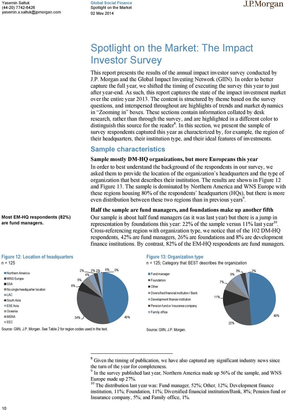 As such, this report captures the state of the impact investment market over the entire year 2013.