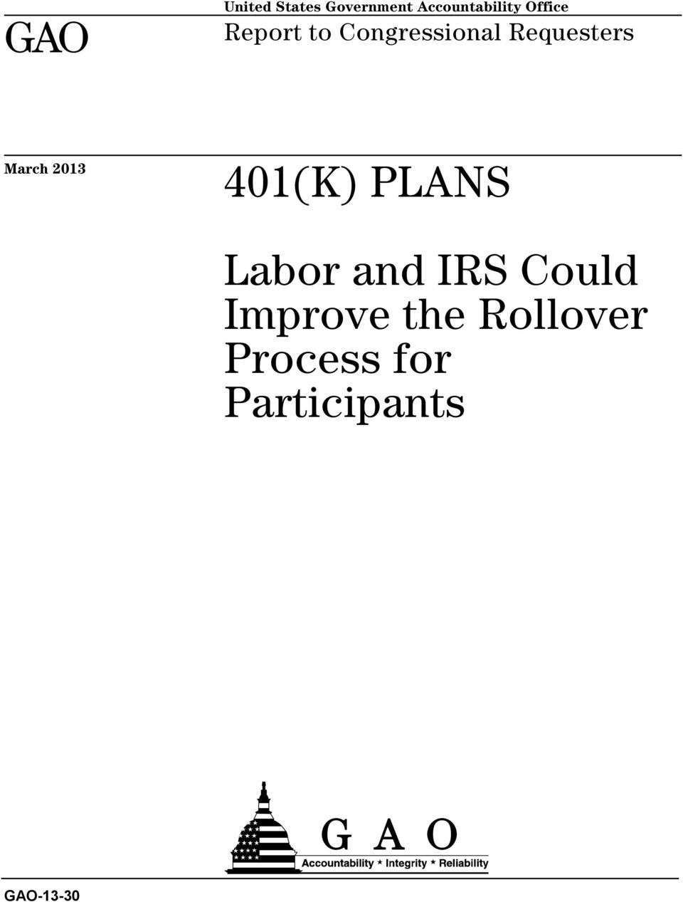 March 2013 401(K) PLANS Labor and IRS Could
