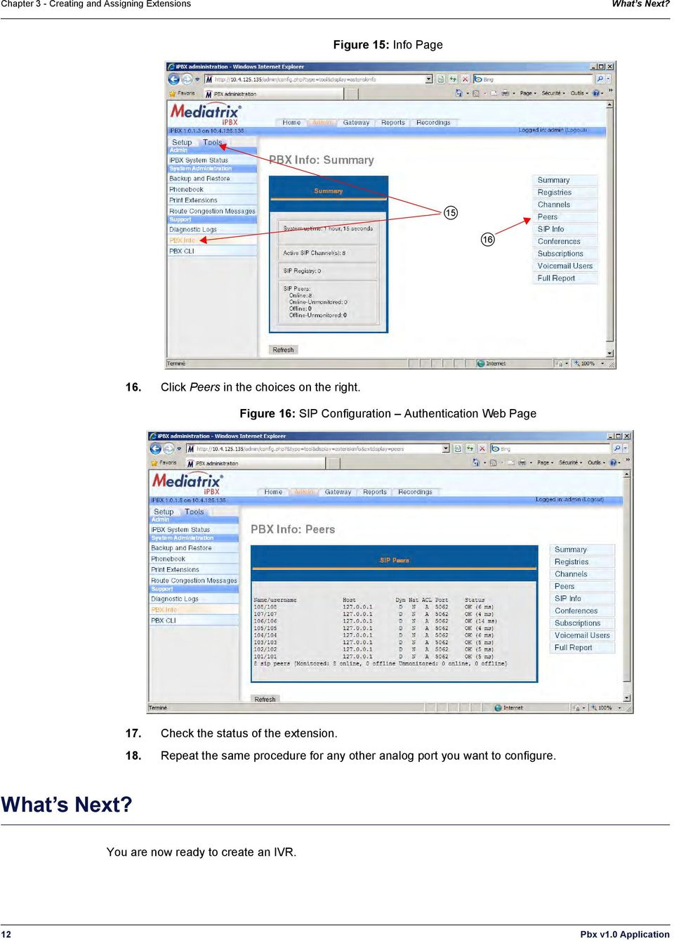 Figure 16: SIP Configuration Authentication Web Page 17. Check the status of the extension.
