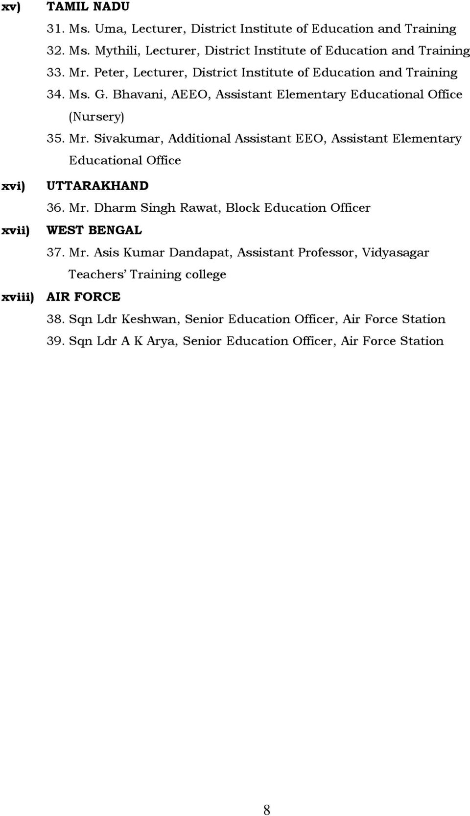 Sivakumar, Additional Assistant EEO, Assistant Elementary Educational Office xvi) UTTARAKHAND 36. Mr. Dharm Singh Rawat, Block Education Officer xvii) WEST BENGAL 37.