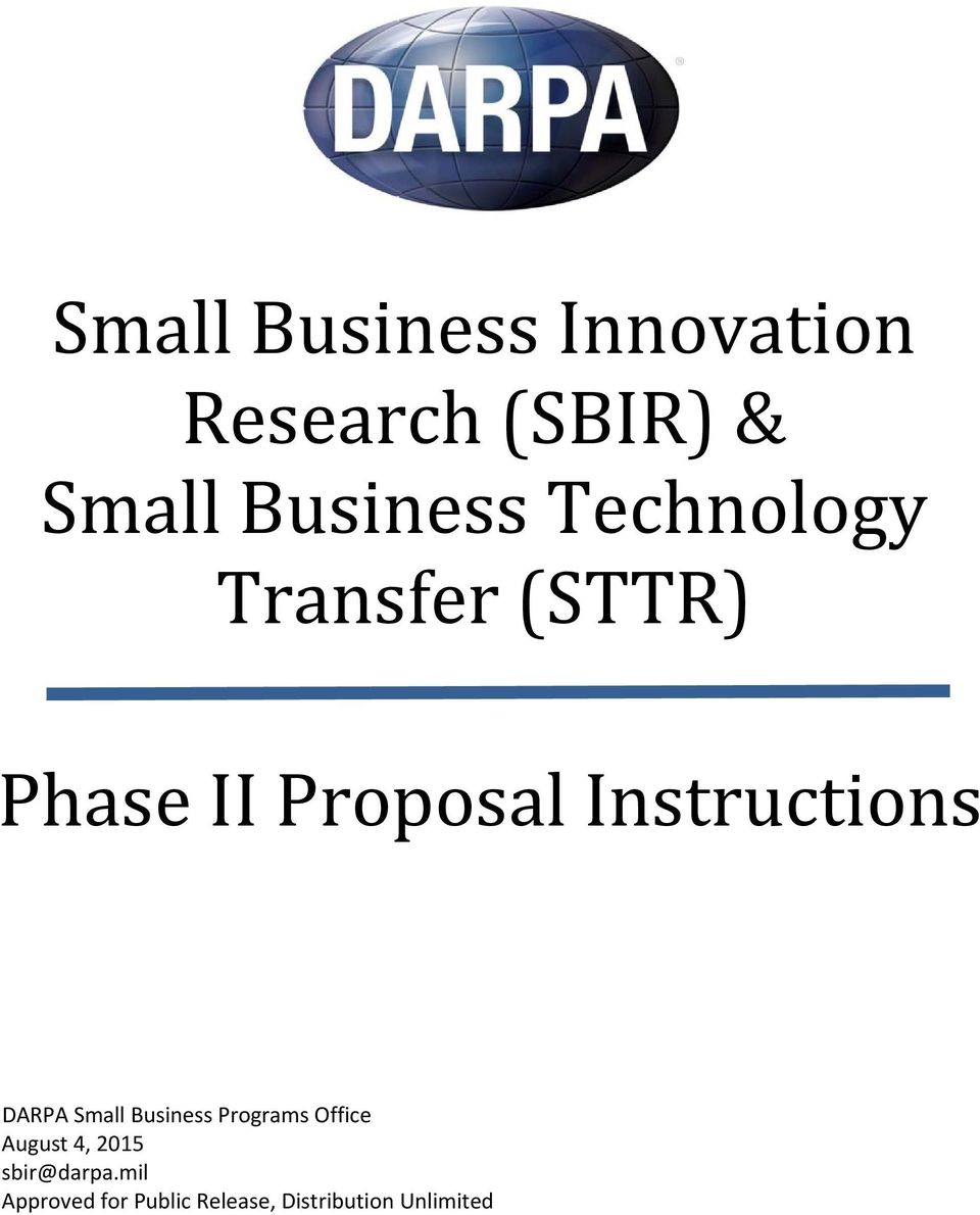 DARPA Small Business Programs Office August 4, 2015