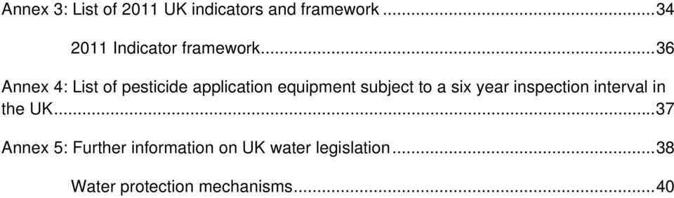 .. 36 Annex 4: List of pesticide application equipment subject to a six