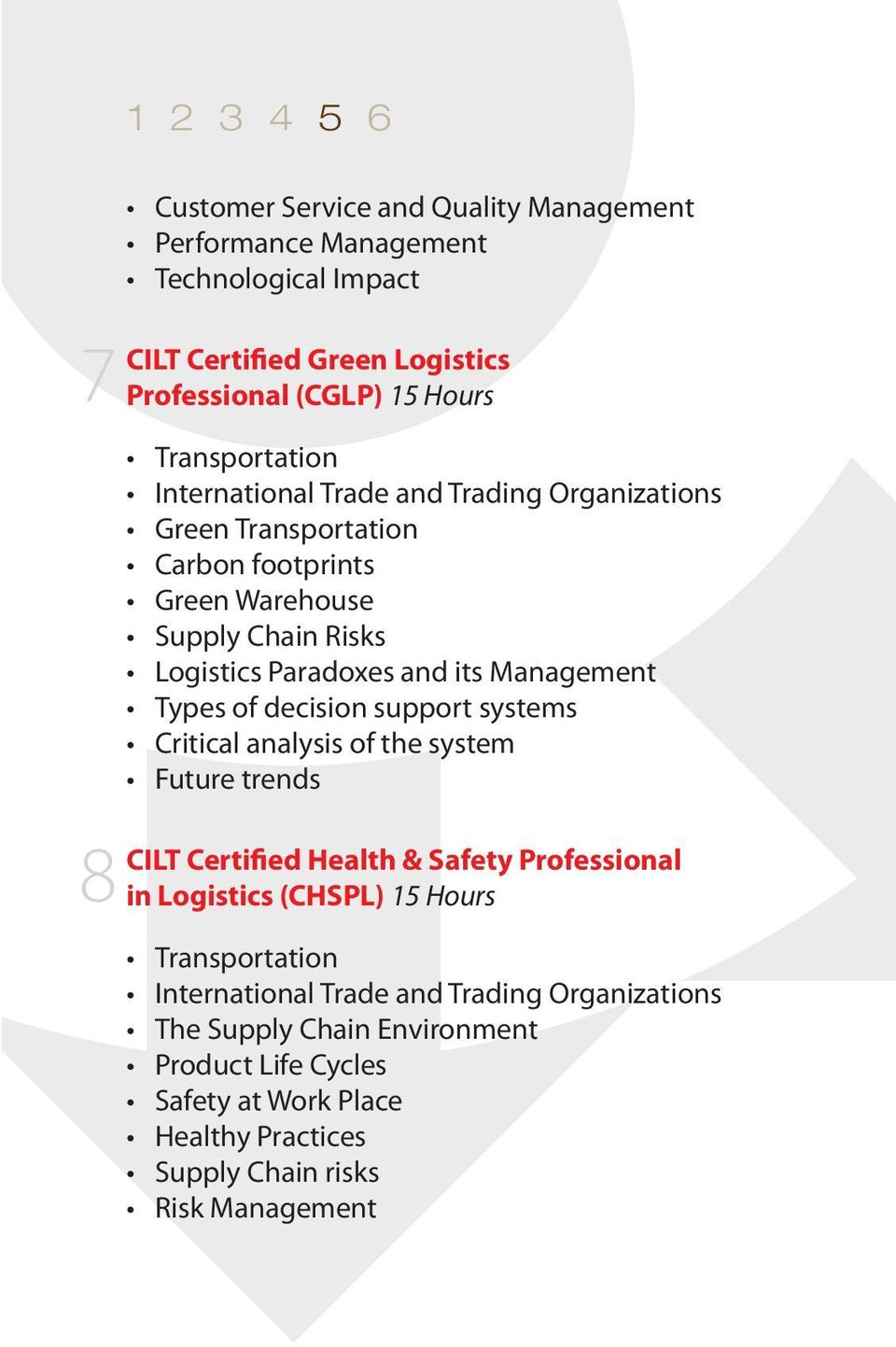Critical analysis of the system Future trends CILT Certified Health & Safety Professional in Logistics (CHSPL) 15 Hours International Trade
