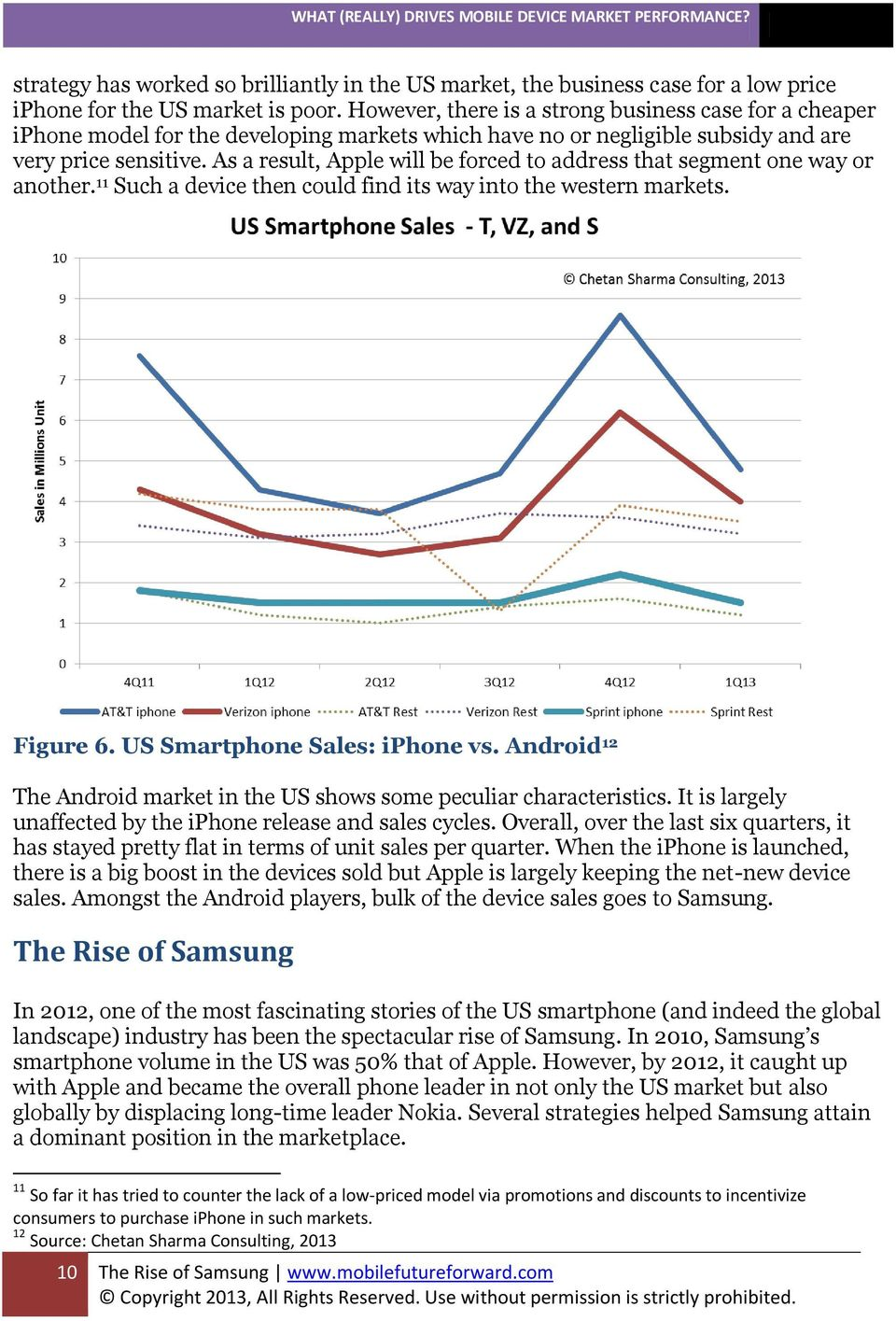 As a result, Apple will be forced to address that segment one way or another. 11 Such a device then could find its way into the western markets. Figure 6. US Smartphone Sales: iphone vs.