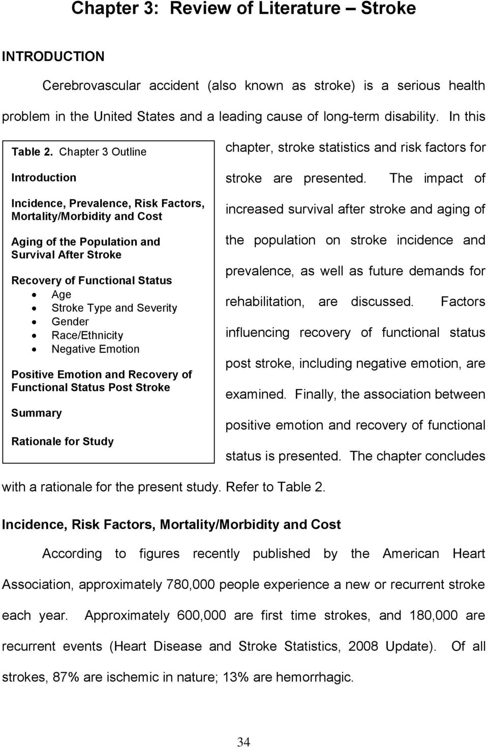 The impact of Incidence, Prevalence, Risk Factors, Mortality/Morbidity and Cost Aging of the Population and Survival After Stroke Recovery of Functional Status Age Stroke Type and Severity Gender