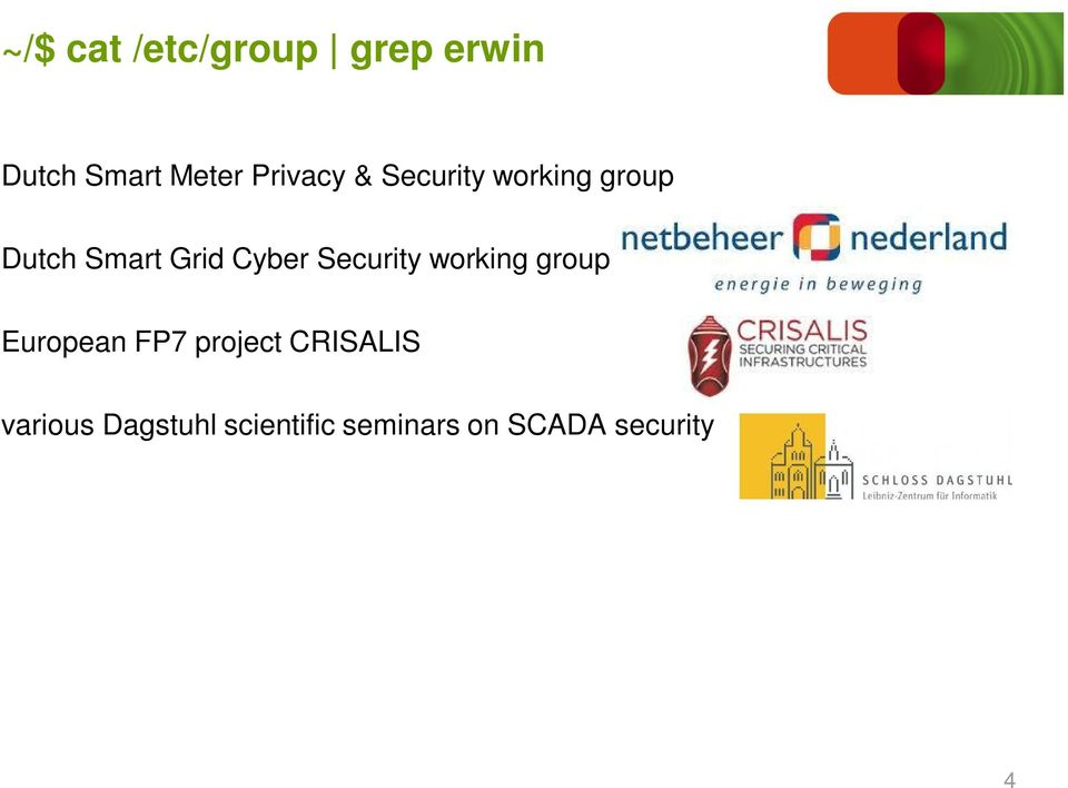 Cyber Security working group European FP7 project
