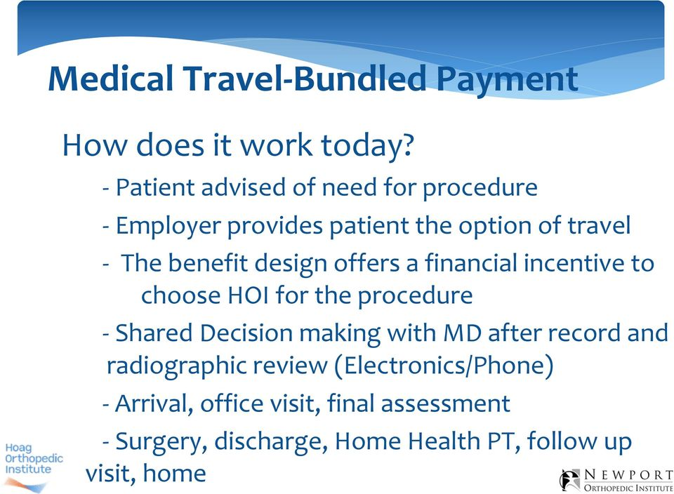 design offers a financial incentive to choose HOI for the procedure Shared Decision making with MD