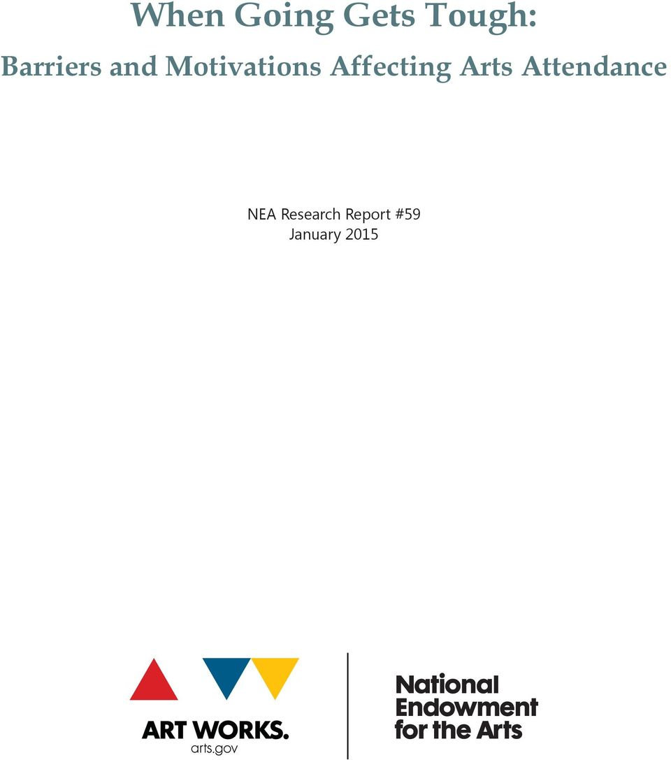 Affecting Arts Attendance