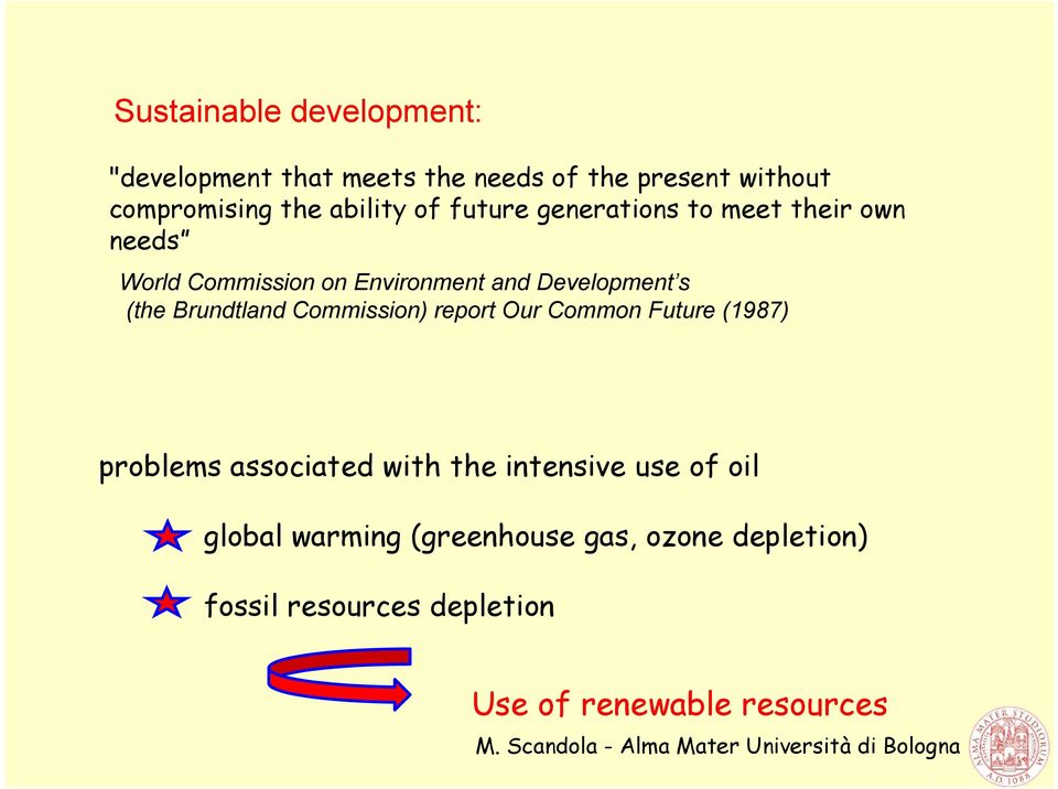 (the Brundtland Commission) report Our Common Future (1987) problems associated with the intensive use