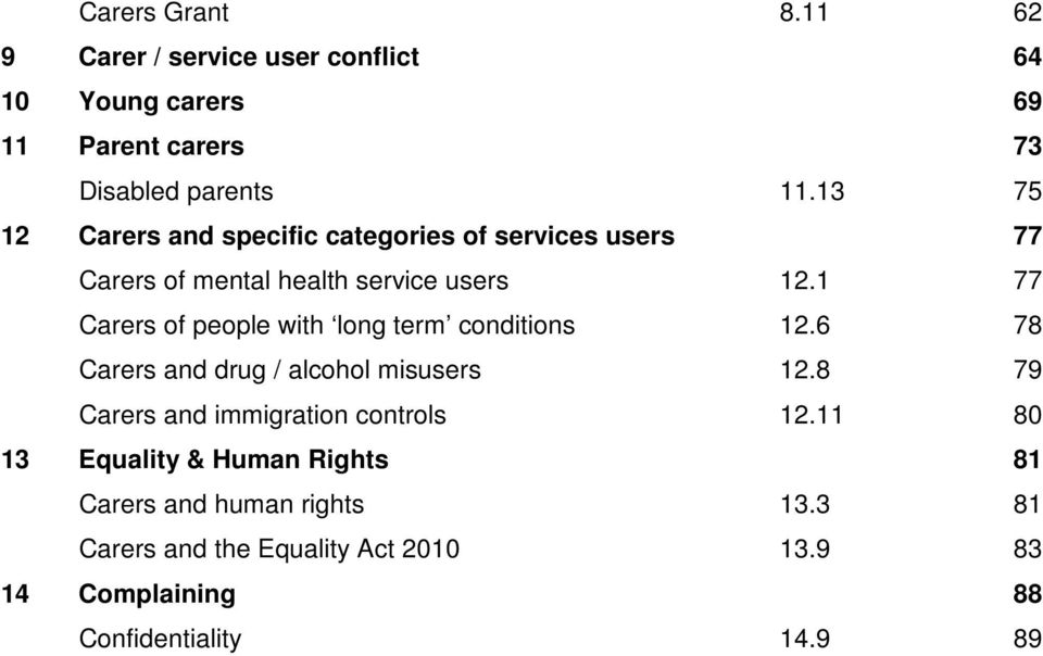 1 77 Carers of people with long term conditions 12.6 78 Carers and drug / alcohol misusers 12.