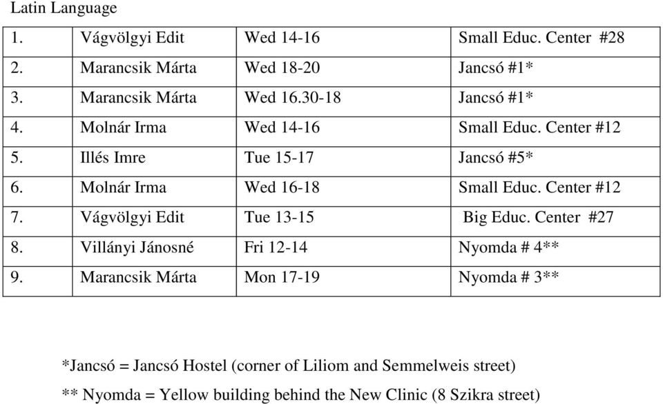 Illés Imre Tue 15-17 Jancsó #5* 6. Molnár Irma Wed 16-18 Small Educ. Center #12 7. Vágvölgyi Edit Tue 13-15 8.