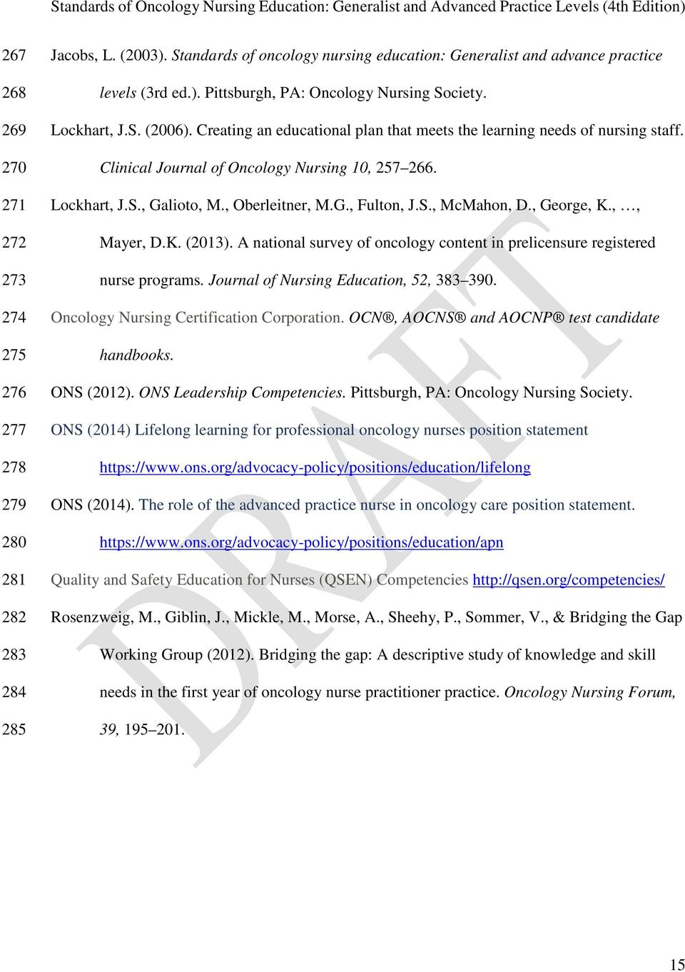 S., McMahon, D., George, K.,, Mayer, D.K. (2013). A national survey of oncology content in prelicensure registered nurse programs. Journal of Nursing Education, 52, 383 390.