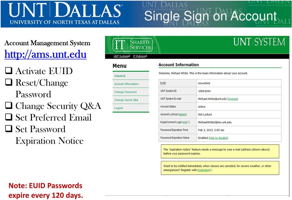 edu Activate EUID Reset/Change Password Change