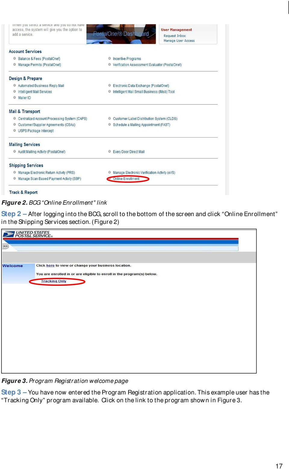 click Online Enrollment in the Shipping Services section. (Figure 2) Figure 3.