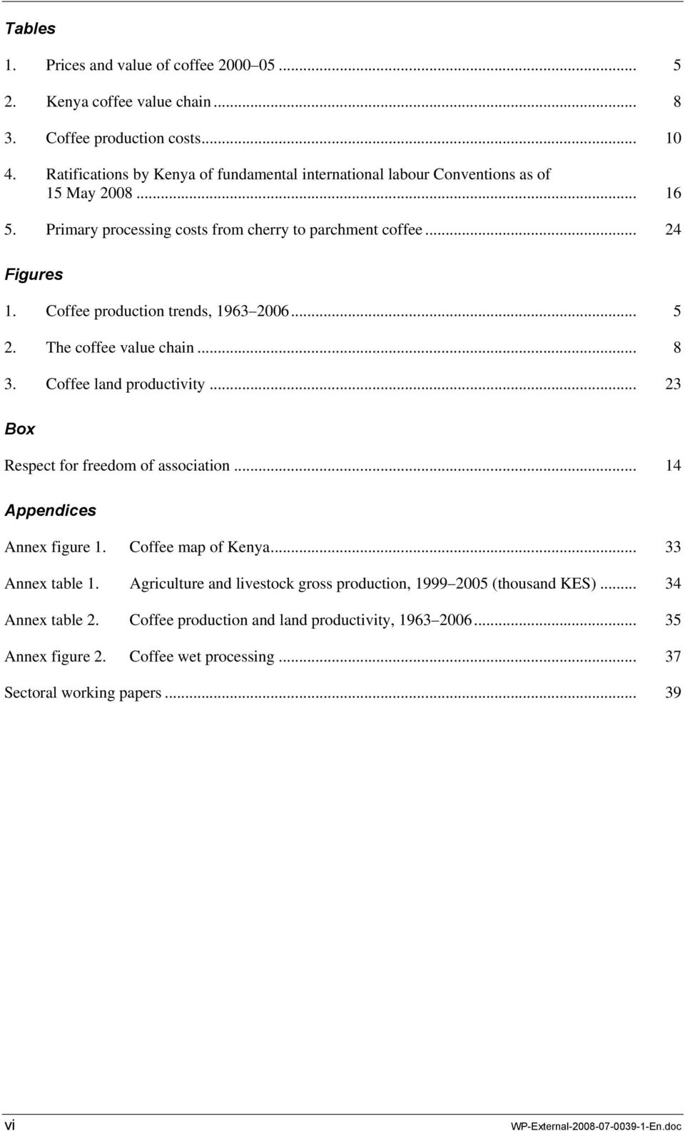 Coffee production trends, 1963 2006... 5 2. The coffee value chain... 8 3. Coffee land productivity... 23 Box Respect for freedom of association... 14 Appendices Annex figure 1.