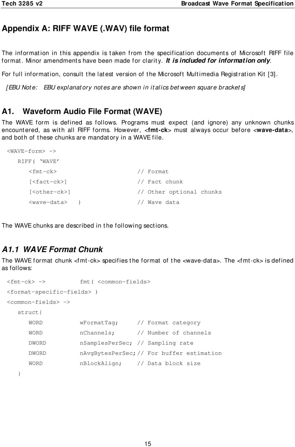 [EBU Note: EBU explanatory notes are shown in italics between square brackets] A1. Waveform Audio File Format (WAVE) The WAVE form is defined as follows.