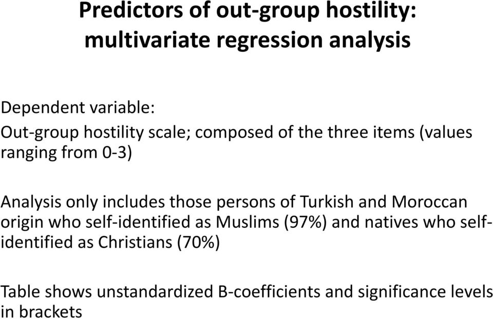 persons of Turkish and Moroccan origin who self-identified as Muslims (97%) and natives who