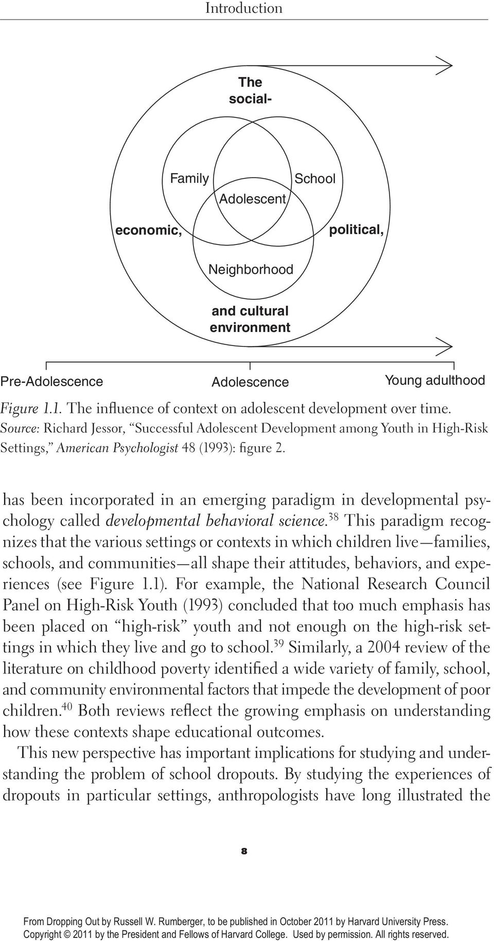 Source: Richard Jessor, Successful Adolescent Development among Youth in High- Risk Settings, American Psychologist 48 (1993): figure 2.