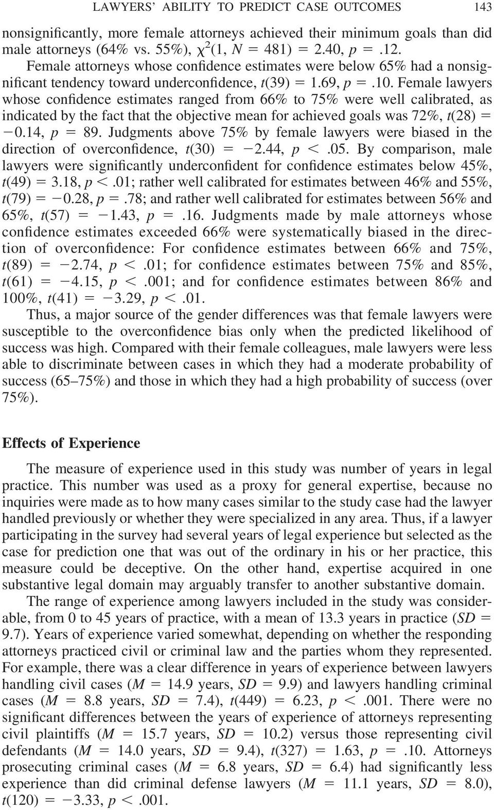 Female lawyers whose confidence estimates ranged from 66% to 75% were well calibrated, as indicated by the fact that the objective mean for achieved goals was 72%, t(28) 0.14, p 89.