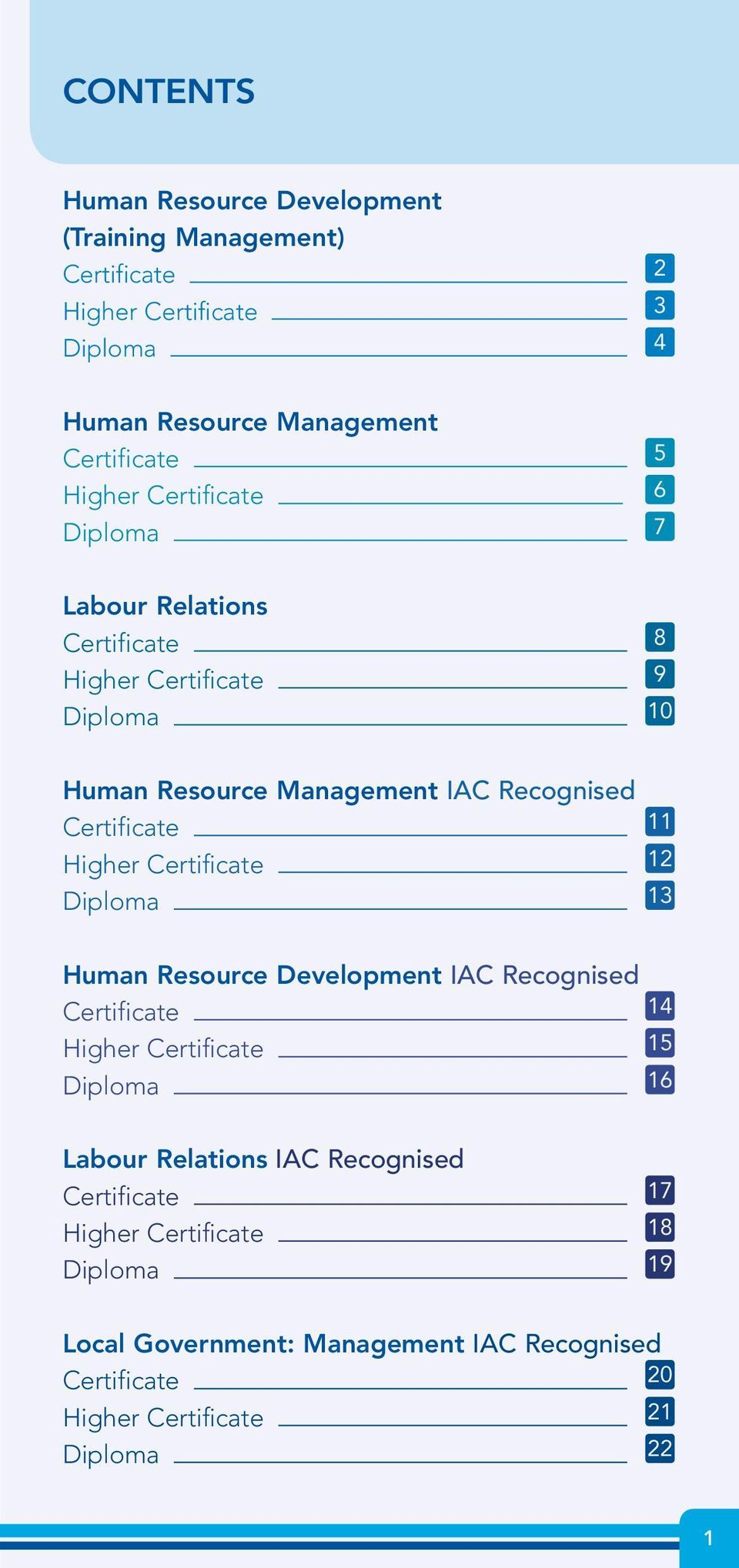 11 Higher Certificate 12 Diploma 13 Human Resource Development IAC Recognised Certificate 14 Higher Certificate 15 Diploma 16 Labour Relations IAC