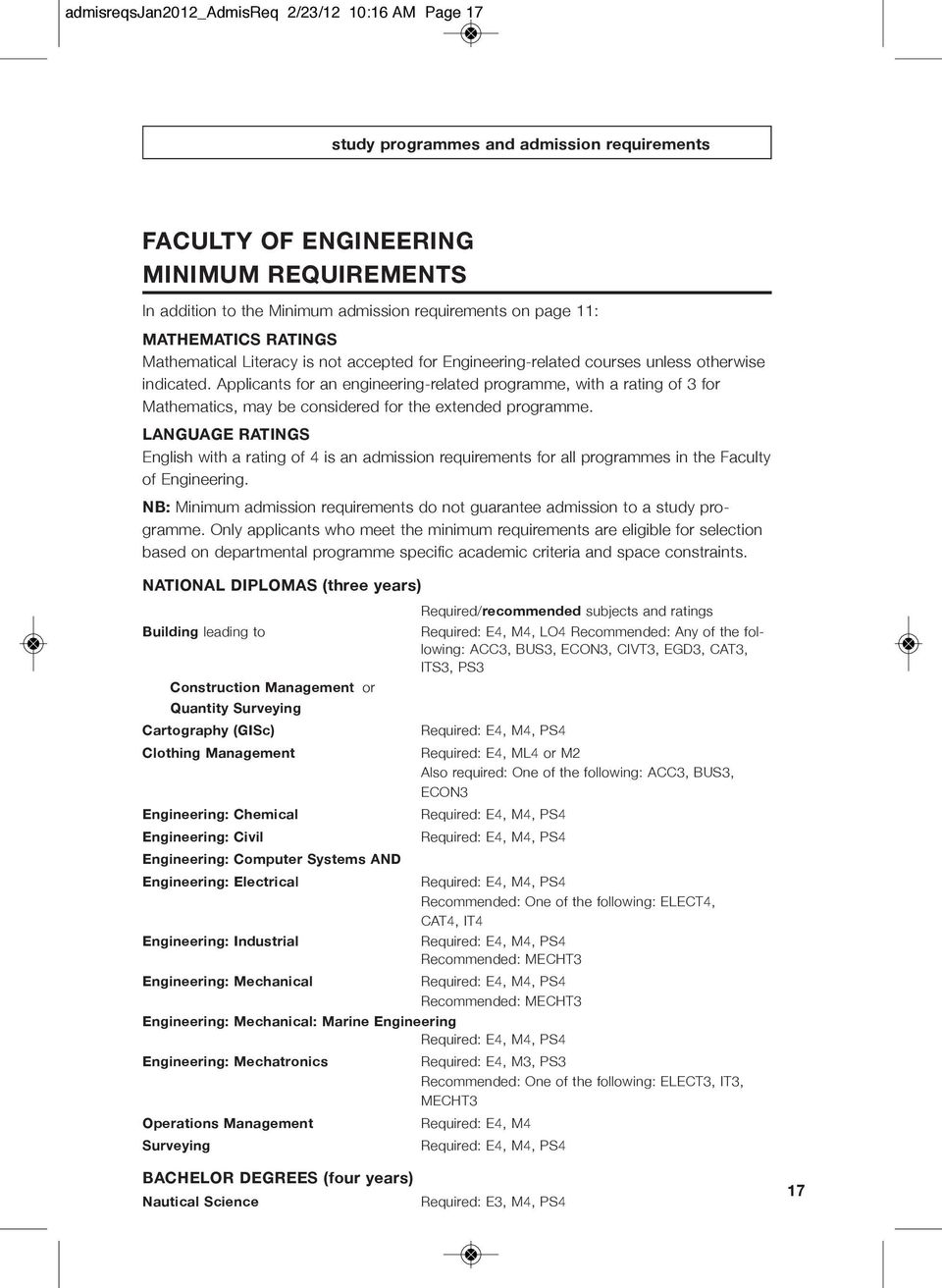 Applicants for an engineering-related programme, with a rating of 3 for Mathematics, may be considered for the extended programme.