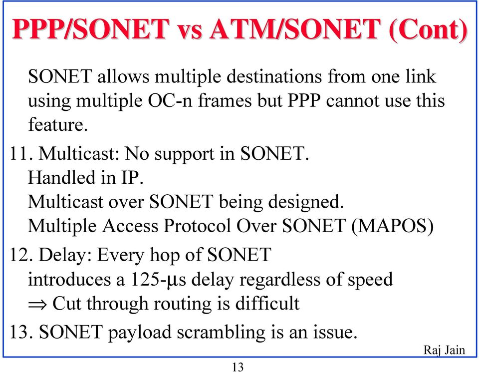 Multicast over SONET being designed. Multiple Access Protocol Over SONET (MAPOS) 12.