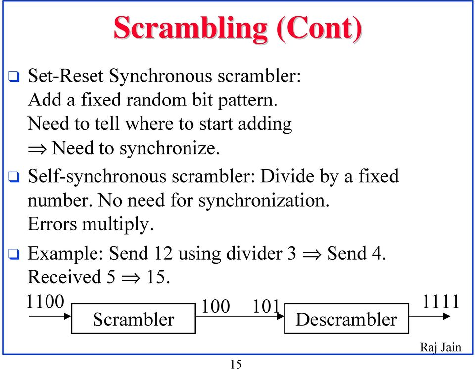 Self-synchronous scrambler: Divide by a fixed number. No need for synchronization.