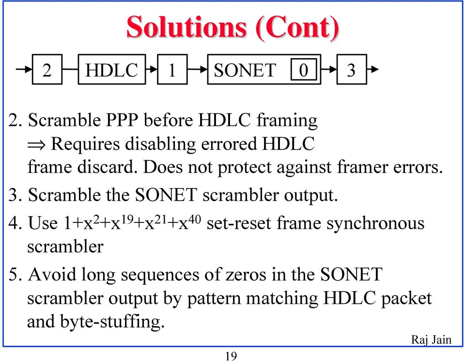 Does not protect against framer errors. 3. Scramble the SONET scrambler output. 4.