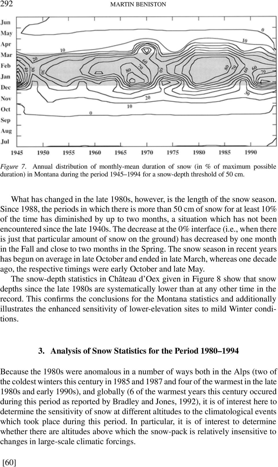Since 1988, the periods in which there is more than 50 cm of snow for at least 10% of the time has diminished by up to two months, a situation which has not been encountered since the late 1940s.