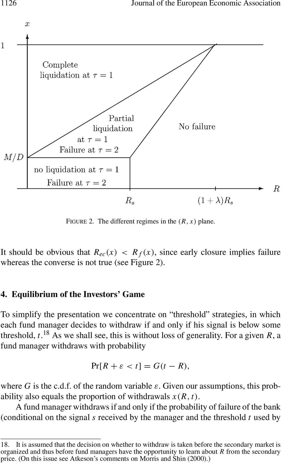 if his signal is below some threshold, t 18 As we shall see, this is without loss of generality For a given R,a fund manager withdraws with probability Pr[R + ε<t]=g(t R), where G is the cdf of the