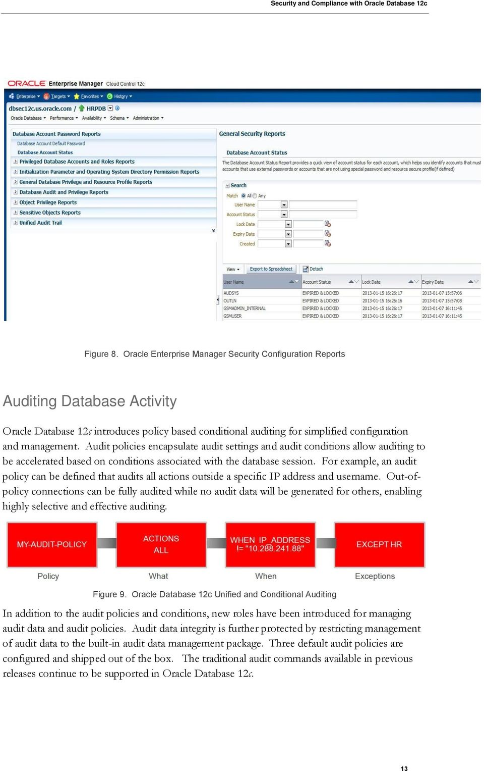 Audit policies encapsulate audit settings and audit conditions allow auditing to be accelerated based on conditions associated with the database session.