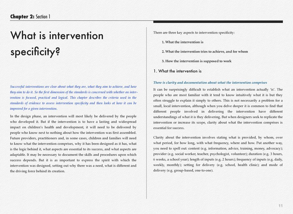 What the intervention is There is clarity and documentation about what the intervention comprises Successful interventions are clear about what they are, what they aim to achieve, and how they aim to